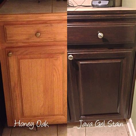 Java Gel Staining Oak Cabinets Darker Before And After For