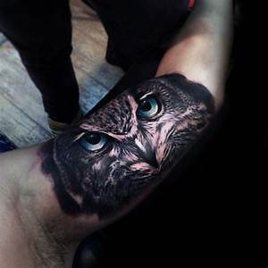 Incredible Realistic Inner Arm Bicep Male Owl With Blue ...