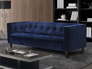 Canapé Bleu Velours : canap et fauteuil en velours vintage bleu ou gris margaux ~ Teatrodelosmanantiales.com Idées de Décoration