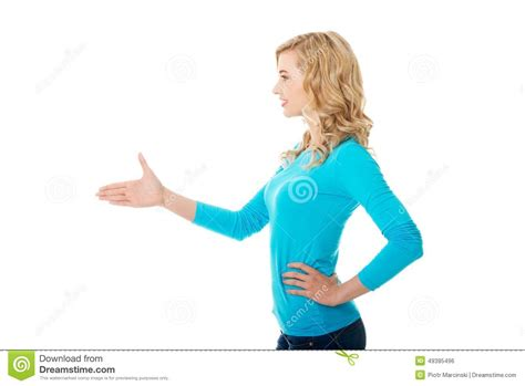 Side View Of Woman Ready To Handshake Stock Photo Image