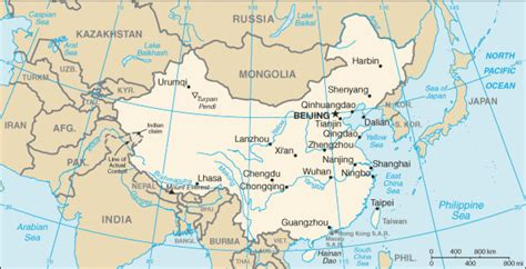 Map of China. Terrain, area and outline maps of China ...