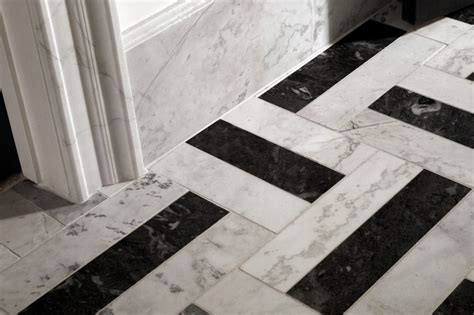 black and white marble traditional tile atlanta by