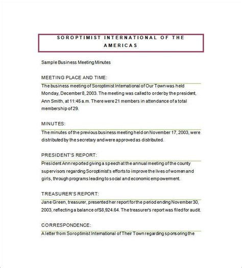 business meeting minutes template   word