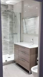 Salle De Bain Grise Et Bois : id e d coration salle de bain petite salle de bains ~ Melissatoandfro.com Idées de Décoration