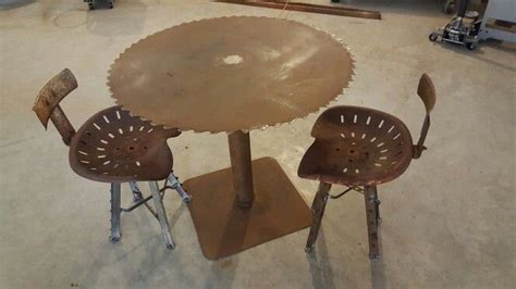 sawmill blade table  handmade tractor seat stools