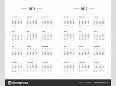 Modèle de l'année de calendrier 2018 2019 — Image