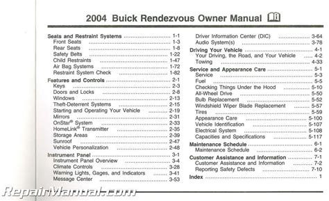 buick rendezvous owners manual