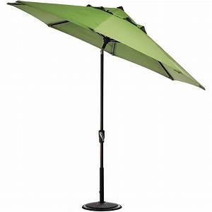 Hampton bay 11 ft led offset patio umbrella in sunbrella for Offset patio umbrellas