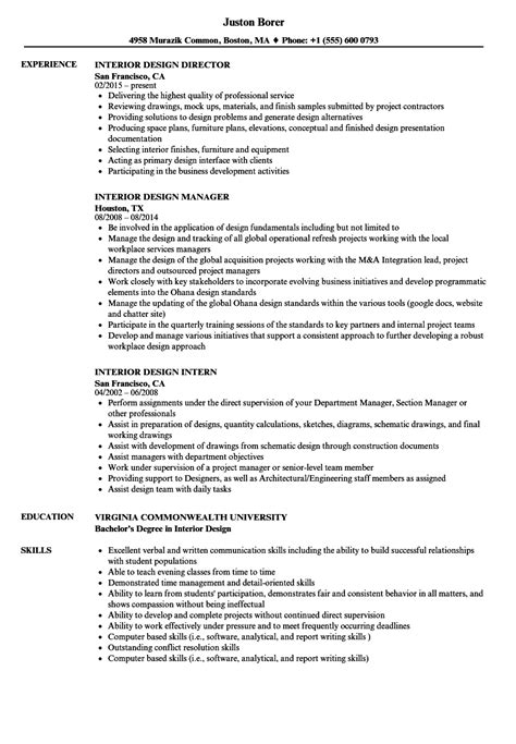 Interior Designer Resume by Interior Design Resume Sles Velvet