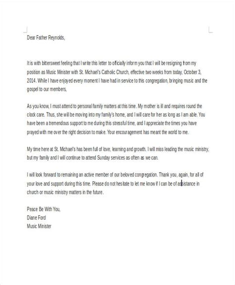 church resignation letter template   word