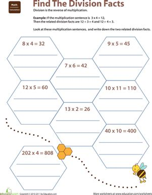 related facts find the division facts worksheet education
