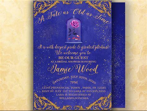 beauty   beast invitation bridal shower invitation