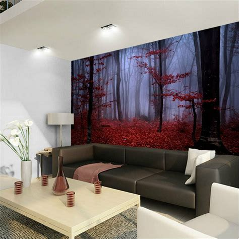 foggy forest red autumn foliage  full wall mural photo