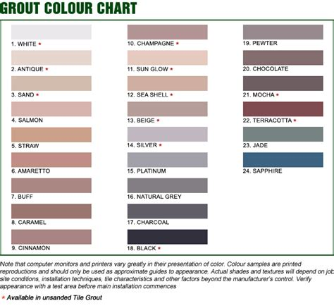 color grout grout colour chart