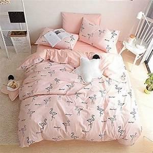 Teen girls cute pink flamingo queen duvet cover 3 pc for Cute duvet covers for teens