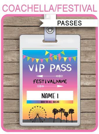 printable coachella party vip passes festival birthday party