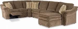 Devon 4 piece reclining sectional sofa with las by la z for 4 piece sectional sofa with recliner