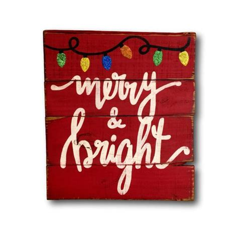merry  bright wood sign christmas decoration rustic