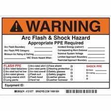 brady part 121077 warning write on arc flash shock With arc flash label template
