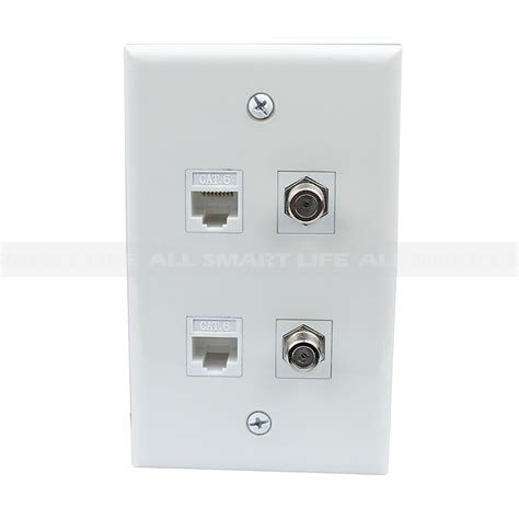Tv Plate Combined 2 Port Coax Cable Tv F Type 2 Port Cat6 Ethernet Wall Plate