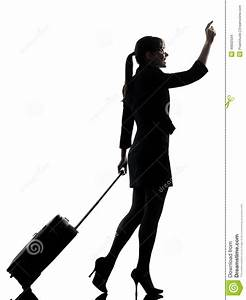 Business Woman Traveling Walking Hailing Silhouette Stock ...