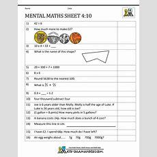Mental Maths Test Year 4 Worksheets