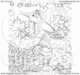Coloring Winter Tree Bird Outline Clipart Royalty Illustration Bannykh Alex Rf 2021 sketch template