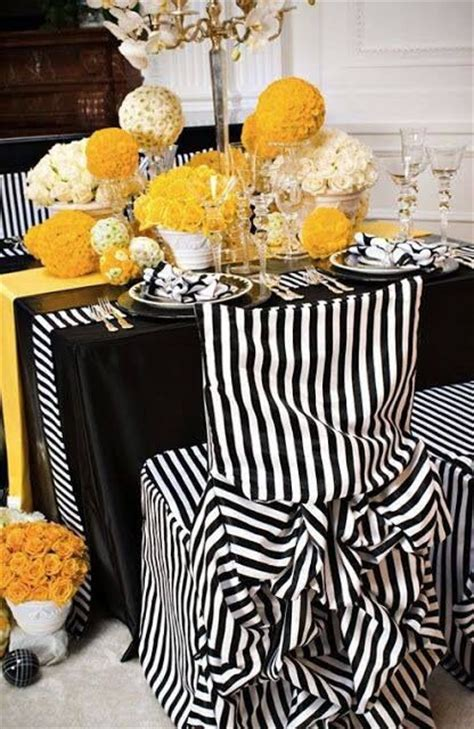 black white  yellow table setting table decorations