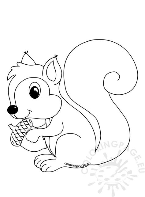 forest animals coloring page squirrel  acorn coloring page