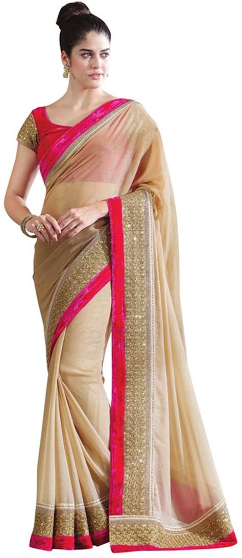 Best Place To Buy Used Furniture by Sareeka Sarees Plain Embriodered Bollywood Satin Sari