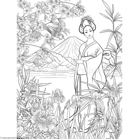 japanese painting geisha coloring pages getcoloringpagesorg