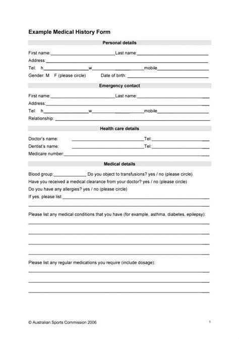 67 Medical History Forms [word, Pdf]  Printable Templates