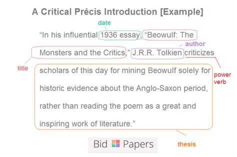 write  critical precis  professor