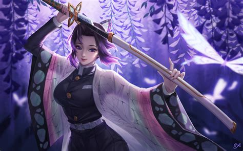 shinobu kocho katana kimetsu  yaiba wallpaper hd anime