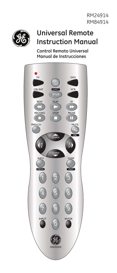 Remote Manual by Ge 24914 Ge Universal Remote User Manual 30 Pages Also