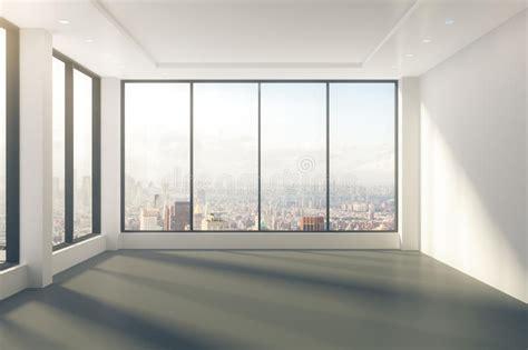modern empty room  windows  floor  city view