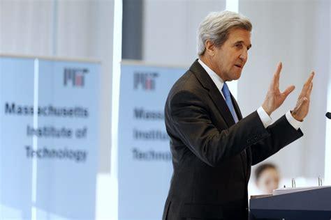 speaking  mit secretary  state john kerry urges