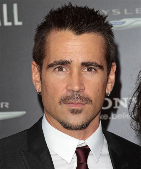colin farrell casual short straight hairstyle dark