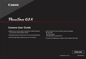 Canon Powershot G3 X Instruction Or User U2019s Manual Download