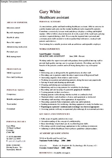 Take a look at our entry level healthcare administration resume sample and the additional specific writing tips. Healthcare Assistant Resume - Sample Templates - Sample ...