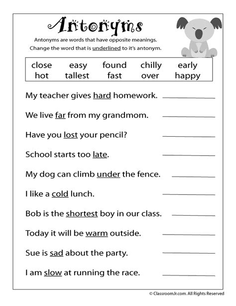 free antonyms worksheet school language arts