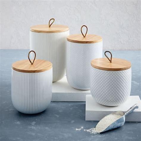 wooden kitchen storage jars textured kitchen canisters west elm 1646