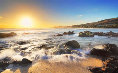 wallpaper sunrise morning beach  nature