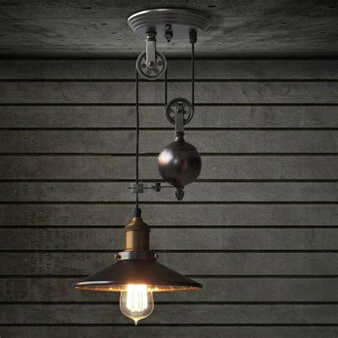 e27 industrial retro pulley pendant light restaurant bar