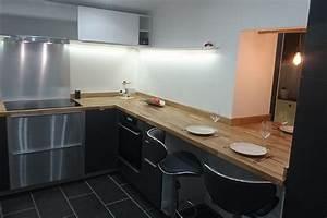 renovation de cuisine en u avec plans de travail en chene With plan de travail cuisine chene