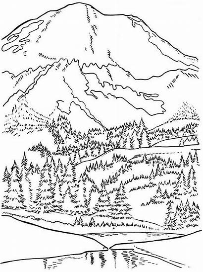 Coloring Pages Mountains Nature Printable
