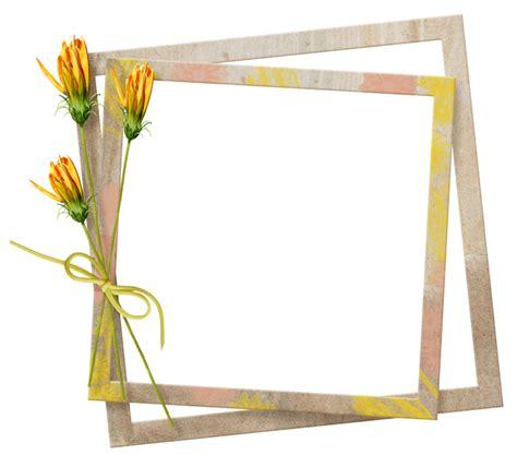 cadre encadrement fleurs jaunes printemps perles