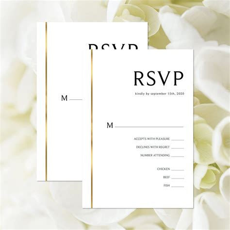 EDITABLE TEMPLATE Wedding RSVP Card Black and White