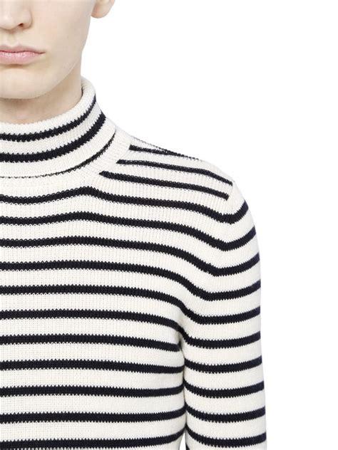 lyst saint laurent striped cotton wool turtleneck