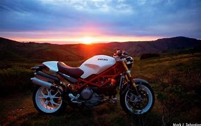 Ducati Motorcycle Sunlight 4k Background Ultra Sunset